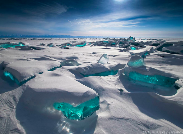 Emerald Ice On Baikal Lake