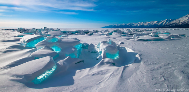 Emerald Ice On Baikal Lake,