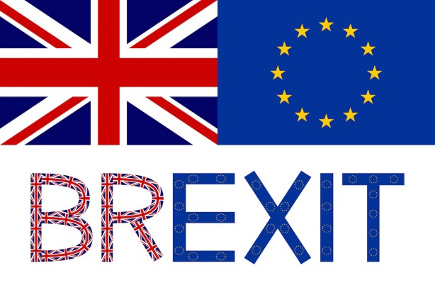Flags of Europe and United Kingdom and word Brexit