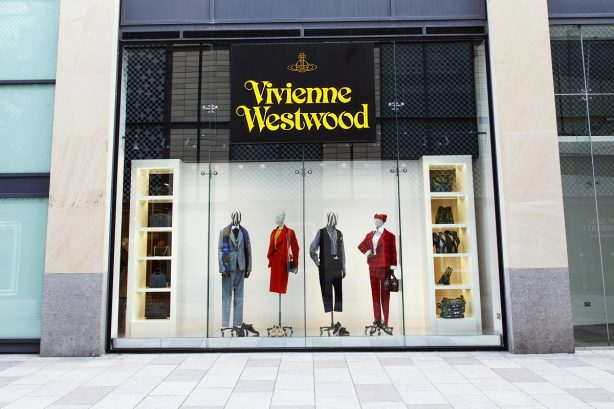 Shop front of a Vivienne Westwood fashion store in Cardiff
