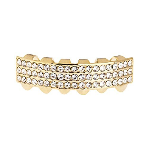 one size fits all bling grillz three line bottom gold